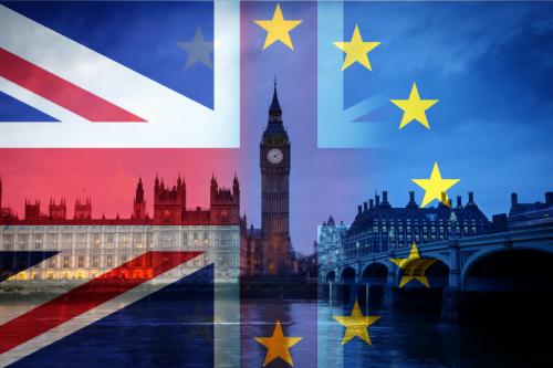 Photo UK and EU flags superimposed over London scenescape
