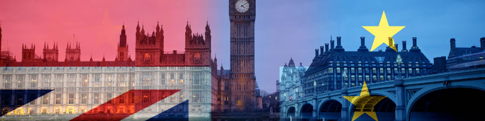 Photo of London cityscape, with Big Ben and Houses of Parliament set against Union Jack and European Union flags